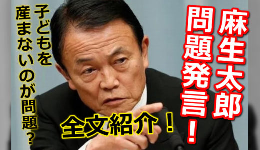 麻生太郎の問題発言全文!「子どもを産まなかった方が問題」発言の意味とは?