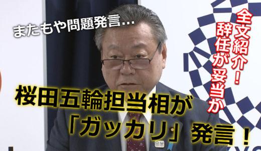 桜田五輪担当相が池江璃花子に「ガッカリ」発言!全文紹介!辞任が妥当か