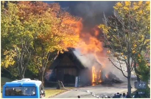 白川郷,村営せせらぎ駐車場,火災,場所はどこ,原因,被害状況,動画